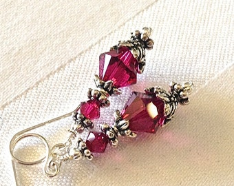 Vintage Look Ruby Red Crystal Earrings in Silver