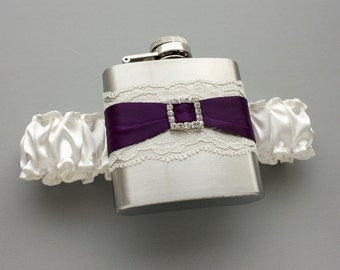 FLASK GARTER -- Ivory & Plum Purple Wedding Garter with Flask -- Ready to Ship