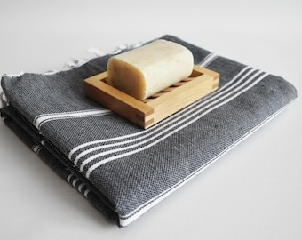 SALE 50 OFF / Turkish Beach Bath Towel / Classic Peshtemal / Black / Wedding Gift, Spa, Swim, Pool Towels and Pareo