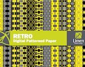 Retro Digital Paper Pack, Retro Patterns, Retro Paper, Retro Digital Papers, Retro Background, Retro Scrapbook Paper, Decoupage Paper