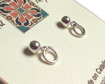 Small Sterling Silver Ball Post Earrings With Simple Silver Ring