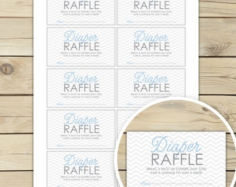 Chevron Baby Shower Diaper Raffle Tickets Printable - Blue and Gray - Instant Download - Chevron Diaper Raffle Cards - Invitation Inserts