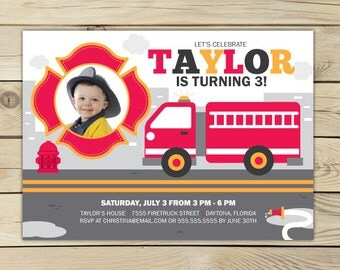 Firetruck Birthday Invitation Printable - Firetruck Birthday Party - Fire Truck Invitation - Firefighter Invitation - Fire Engine Party
