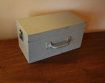 Vintage Grey Metal Tool Box - Rustic - Industrial Chic