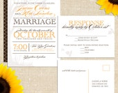 Manhattan in the Fall Wedding Invitation with Postcard Rsvp