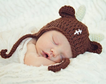 Baby Buffalo Bull football hat for Newborn to 12 month infant, children fan w/wo stitching