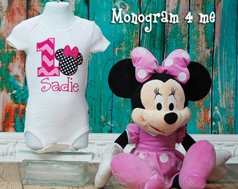 Girls Minnie Mouse Hot Pink 1st Birthday Bodysuit, First Birthday, Baby Bodysuit
