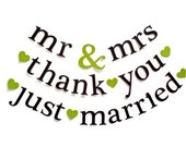 SHIPS PRIORITY.  3 Banners.  mr & mrs / thank you / just married.  Wedding Decorations.  Bridal Shower.  Photo Prop.  5280 Bliss.