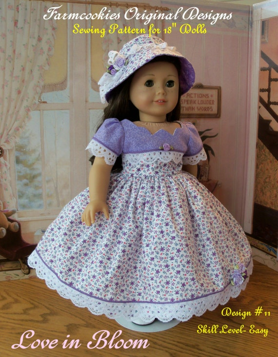"PDF Sewing Pattern / Love in Bloom  / Sewing Pattern for 18"" American Girl Dolls"