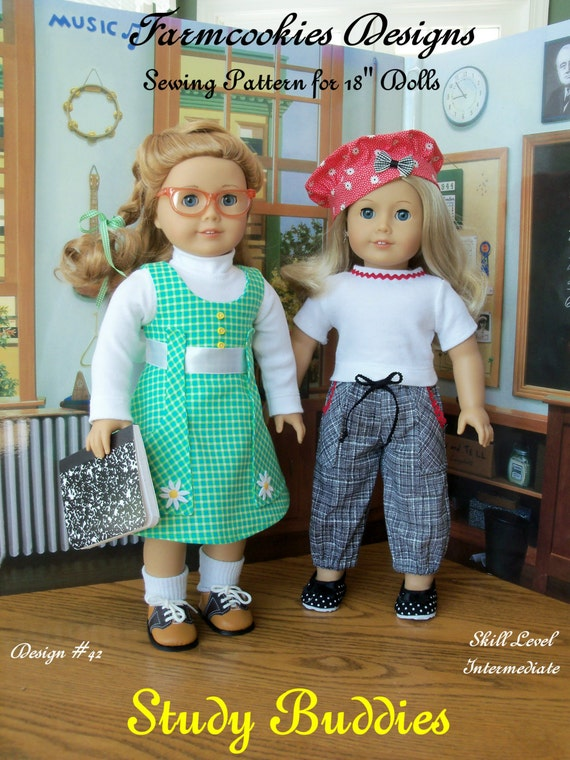 "PDF Sewing Pattern/  STUDY BUDDIES / Fits American Girl® or Other 18"" Dolls"