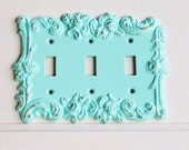 Victorian Antique Old Style Rose 3 Toggle Light Switch Cover-Aquamarine-Triple Light Switch Cover-Metal Wall Decor Lighting Outlet Cover