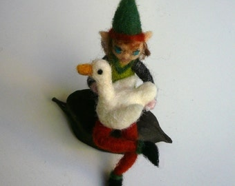Little elf with his goose/OOAK/Needlefelted Elf with goose/Soft sculpture