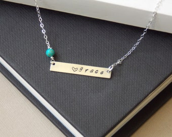 Gemstone Bar Necklace, Personalized Nameplate Necklace, Mothers Necklace, Silver Bar Necklace, Gifts for Her, Birthstone Necklace