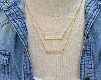 Two Gold Nameplate Necklaces,  Gold Bar Necklace Set of Two, Layering Necklace Set, Personalized Necklace, Double Strand Necklace