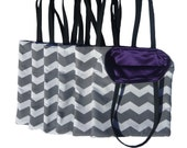 Bridesmaids Gift Set 6 Grey Chevron and Purple Reversible Tote Bags