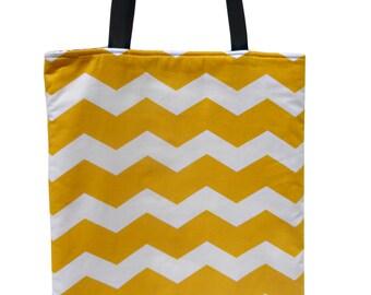Chevron Yellow  Reversible Tote Bag