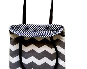 Grey Chevron/Navy Polka Dots Reversible Tote Bag