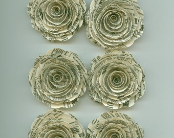 Newsprint Handmade Large Spiral Paper Flowers