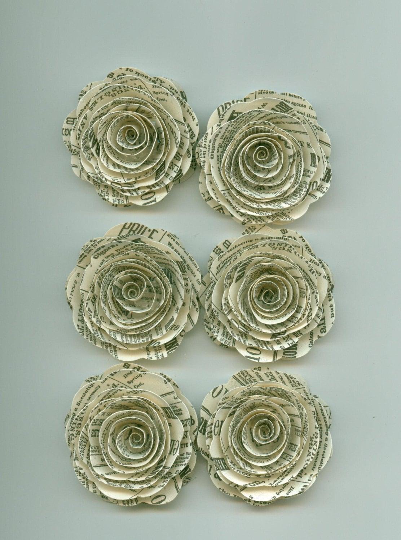 Newsprint Handmade Large Spiral Paper Flowers E10261624442624866m
