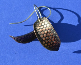 Anticlastic Patterned Copper and Sterling Silver Earrings