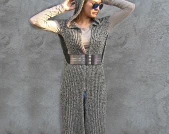 Knit VEST Women / Outerwear/Coats  white/gray/black  Sizes  XS/S 100% cotton