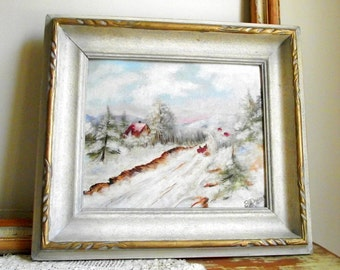 Winter Landscape Painting , Framed Oil Painting , Vintage Cottage Chic Decor , Original Painting Signed By Artist