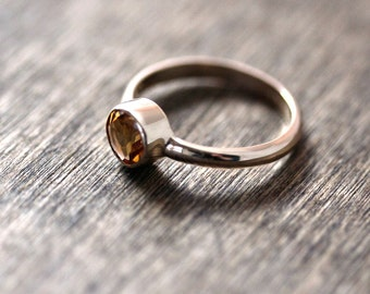 Citrine Gold Ring, Faceted Sunshine Yellow Gemstone Recycled 14k Gold Ring November Birthstone Ring - Made to Order in Your Size