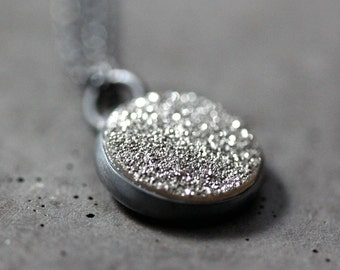 Silver Gray Druzy Necklace, Minimalist Petite Druzy Oxidized Sterling Necklace Druzy Jewelry - Moonbeam