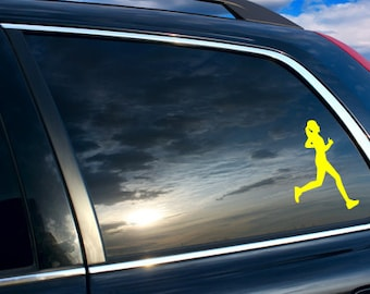 Women Runner girl Car sticker, Women runner girl silhouette car decal, Runner's silhouette