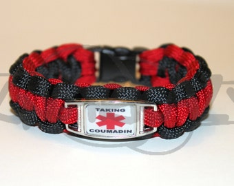 Taking Coumadin Medical Alert ID ALLOY Charm on 550 Paracord Survival Strap Bracelet with Plastic Contoured Side Release Buckle