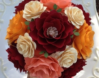 Paper Flower Bouquet - Wedding Bouquet - Paper Flowers - Bride or Bridemaid - Customize Your Colors - Made To Order