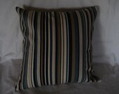 Blue and Tan stripe pillow cover 18 inch