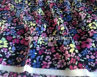"Japanese made cotton rayon blend fabric, floral print cotton rayon fabric, half yard by 44"" wide"