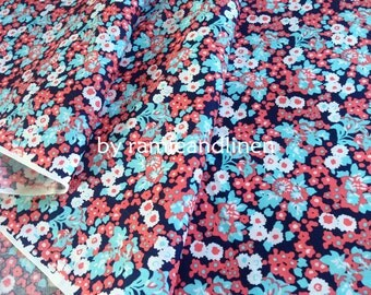 "cotton fabric, vintage style floral print on dark navy cotton fabric, Fat Quarter, 18"" by 28"""