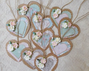 Gift Tag, Wedding, Shabby Chic, Scrapbooking, Lace Hang Tag, Heart Shape, Vintage,