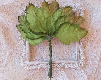 20 Paper Rose leaves, Scrapbooking, Card Making, Altered Art, Mixed Media, Mulberry Paper.