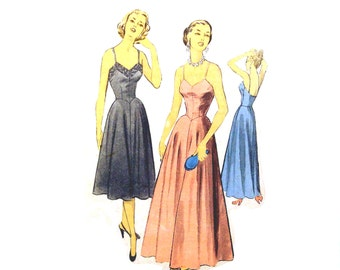 Vintage 1950s Evening Gown Pattern Uncut  Advance 5398 Size 12 Bust 30 Slip