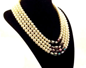 Pearl Necklace Iridescent Multi Strand Glass OOAK