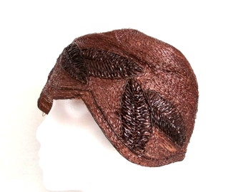 Vintage 1920s Hat Flapper Cloche Soft Chocolate Brown Packable Size Medium to Large