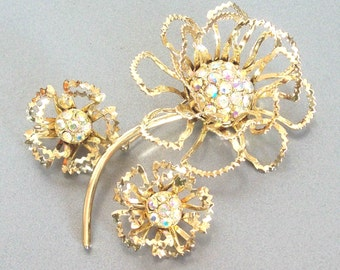 Vintage 1960s AB Rhinestones Sarah Coventry Allusion Set Earrings Brooch