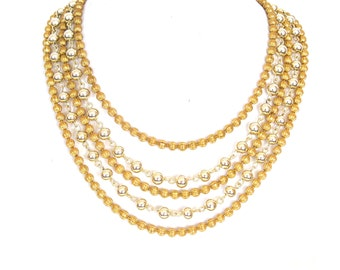 Vintage 1960s Gold Ball Necklace Signed Lisner Multi Strand