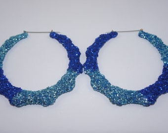 Bling Collection Bamboo Earrings   Blue Jean Buy 1 Get 1 & Free Shipping