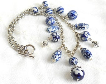 Delft blue necklace blue bib necklace blue and white delft blue jewelry charm necklace delft bib necklace beaded delft necklace