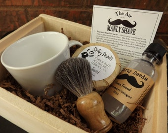 Men's Shave Set in Deluxe Wood Box with Aftershave/Cologne,  Badger Brush, Mens Grooming