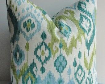 Aqua Teal Decorative IKAT Pillow Cover Both Sides-Designer Throw pillow Lumbar only jade green-lime green-ivory- barkcloth cotton-lumbar