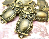 Owl Connector Charms, 8pc Antique Bronze Link Charms, 26x13mm