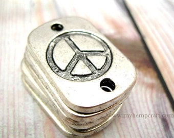 Peace Sign Connectors, 6pc Bracelet Connector, 27x18mm