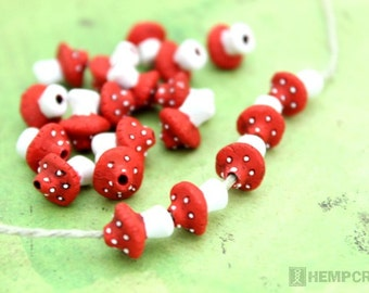 5pc Red Mushroom Beads, Tiny Red Toadstool Beads, Clay Beads, 10mm