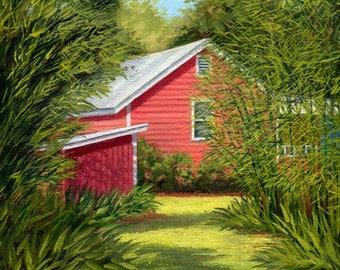 The Cottage Path ~ Red cottage, red house, red barn in the country original oil painting by artist, Eleanor Davin