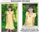Belle Dress DIY Kit, Includes all the fabric, trims, and pattern you need to make your own dress, Sizes 1/2-4